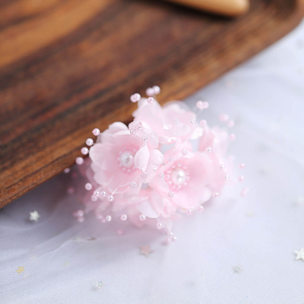Faux Pearl Decor Flower Braids Corsage Boutineer Craft - Pink - 72|Pack