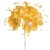72 Pack Faux Pearl Decor Yellow Craft Flowers