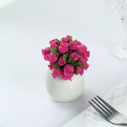 144 Fushia Poly Rose Buds Wedding Bouquet Flowers Decoration