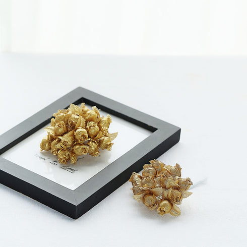 144 Gold Poly Rose Buds