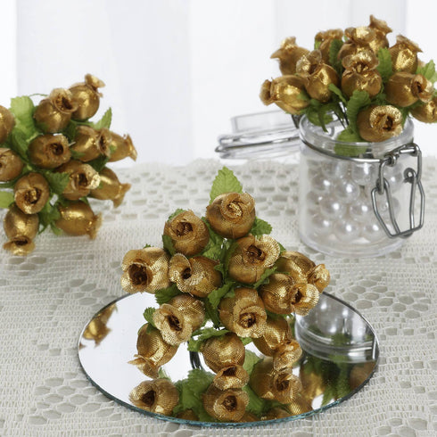 144 Ivory Gold Rose Buds