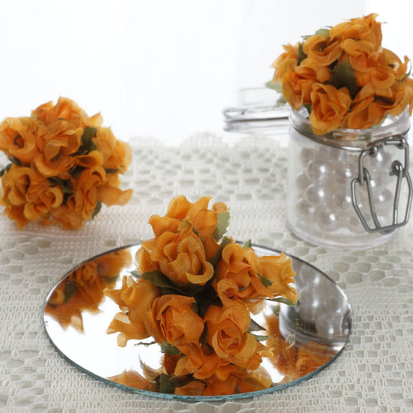 144 Pcs Orange Wired Rose Flowers For Bridal Bouquet Craft Embellishment