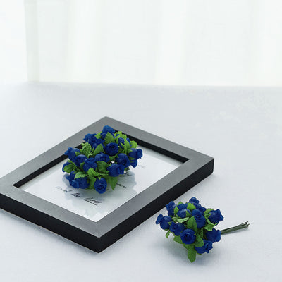 144 Silver Royal Blue Rose Buds