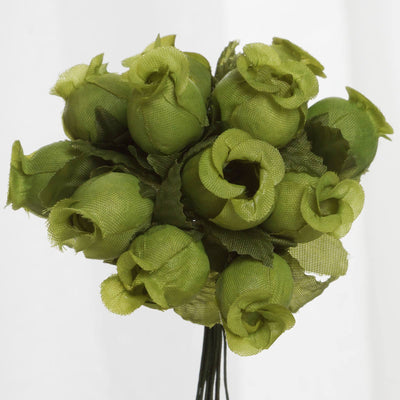 144 Sage Green Poly Rose Buds