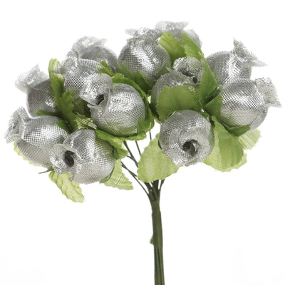 144 Silver Poly Rose Buds