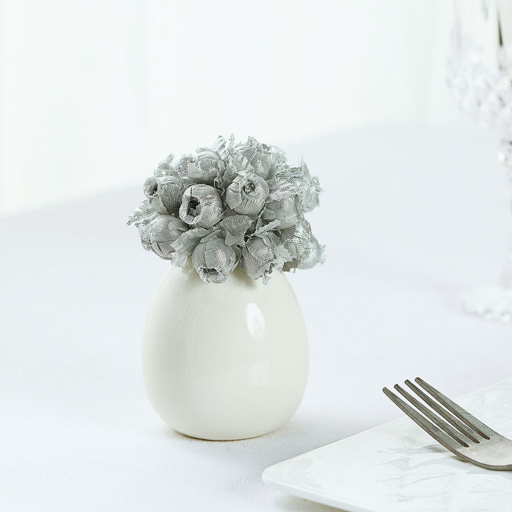 144 All Silver Poly Rose Buds Wedding Bouquet Flowers Decoration