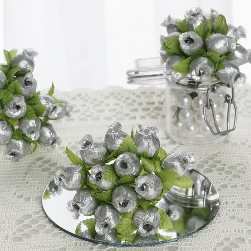 144 Silver Poly Rose Buds Wedding Bouquet Flowers Decoration