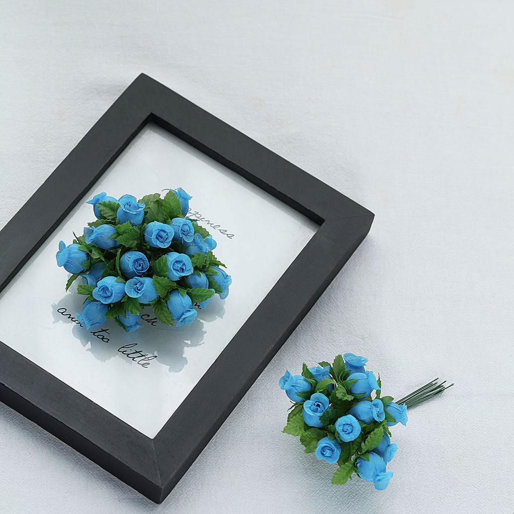 144 Turquoise Poly Rose Buds Wedding Bouquet Flowers Decoration