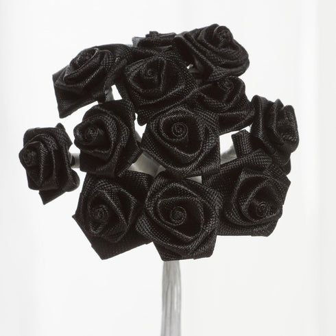 144 PCS Boutonniere Black Rosebud Flower Applique DIY Brooch