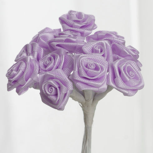 144 PCS Boutonniere Lavender Rosebud Flower Applique DIY Brooch