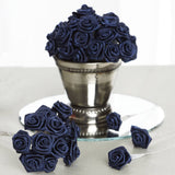 144 PCS Boutonniere Navy Blue Rosebud Flower Applique DIY Brooch