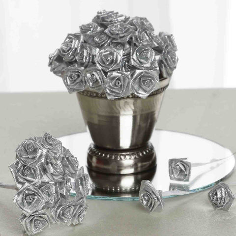 144 PCS Boutonniere Silver Rosebud Flower Applique DIY Brooch