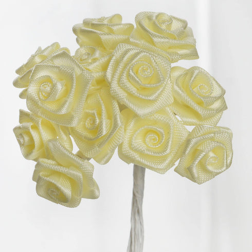 144 PCS Boutonniere Yellow Rosebud Flower Applique DIY Brooch