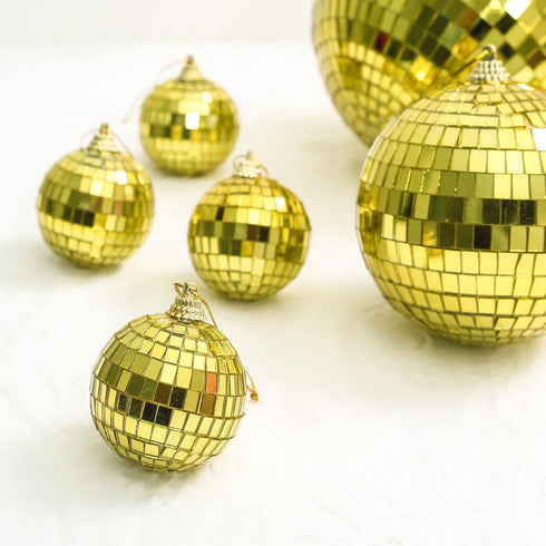 "6 Pcs - 2"" Gold Glass Disco Mirror Ball with Hanging String - Christmas Ornaments"