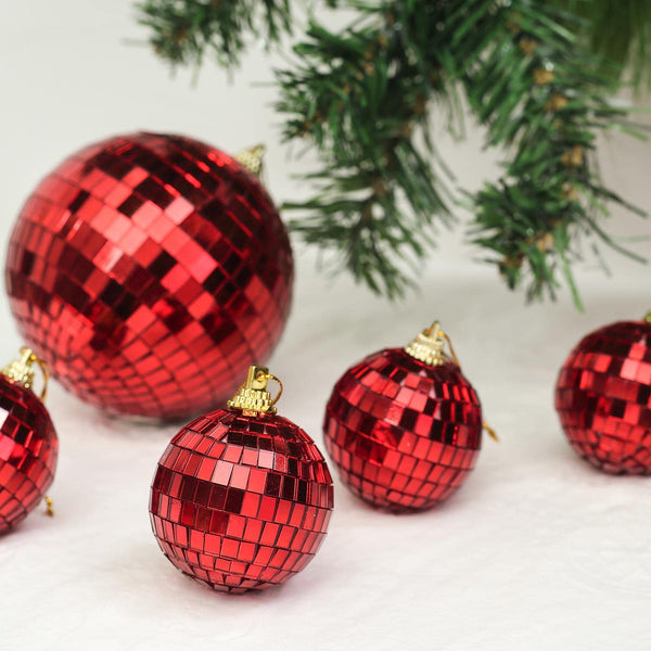 "6 Pcs - 2"" Red Glass Disco Mirror Ball with Hanging String - Christmas Ornaments"