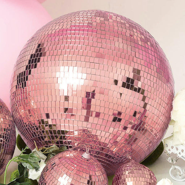 "4 Pcs - 4"" Rose Gold Mirror Glass Disco Ball with Hanging String, Christmas Ornaments"