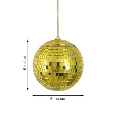 "4 Pcs 6"" Gold Glass Mirror Disco Balls with Hanging String 