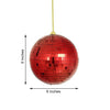 "4 Pcs 6"" Red Glass Mirror Disco Balls with Hanging String 