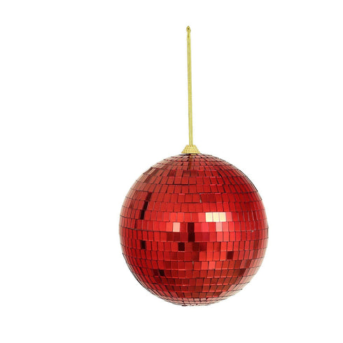 "4 Pcs - 6"" Red Glass Disco Mirror Balls with Hanging String - Christmas Ornaments"
