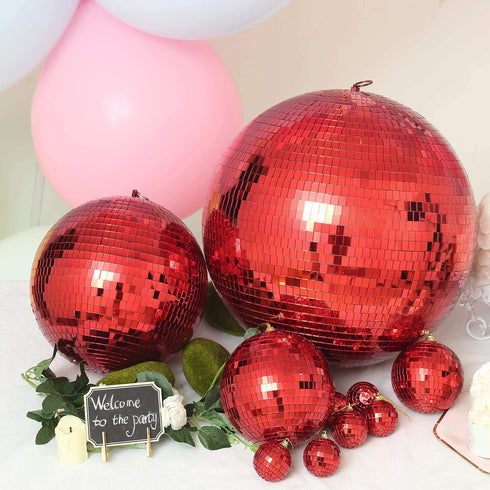 "4 Pcs 6"" Red Glass Mirror Disco Balls 