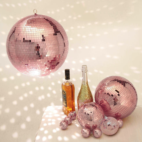 "Pack of 2 - 10"" Rose Gold Disco Mirror Ball - Large Disco Ball with Hanging Swivel Ring"
