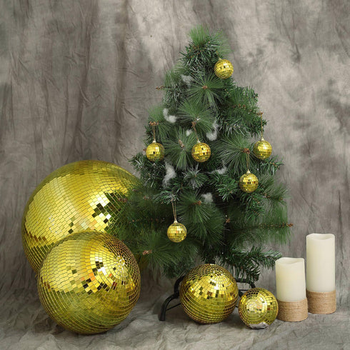 "2 Pcs - 10"" Gold Glass Disco Mirror Balls with Hanging String - Christmas Ornaments"