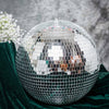 16 inches Silver Disco Mirror Ball - Large Disco Ball with Hanging Swivel Ring