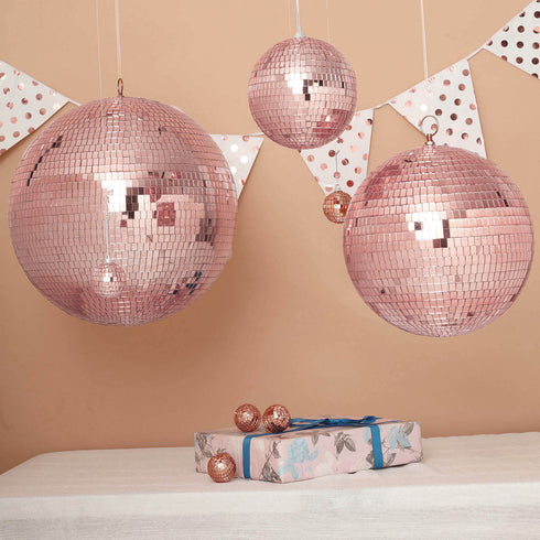 "20"" Rose Gold Disco Mirror Ball - Large Disco Ball with Hanging Swivel Ring"