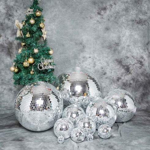 "24"" Silver Disco Mirror Ball - Large Disco Ball with Hanging Swivel Ring"