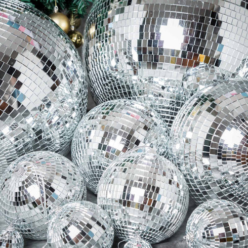 "4 Pcs 8"" Groovy Glass Mirrored Disco Ball"