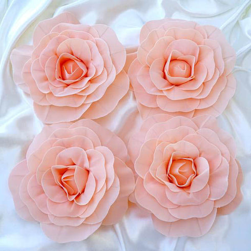 "4 Pack 12"" Large  Real Touch Artificial Foam Backdrop Craft Roses- Rose Gold 