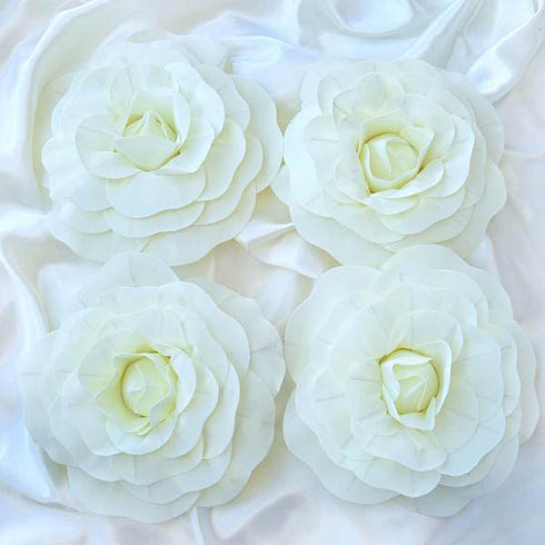"4 Pack 12"" Large Ivory Real Touch Artificial Foam Backdrop Craft Roses"