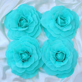 "4 Pack 12"" Large Turquoise Real Touch Artificial Foam Backdrop Craft Roses"