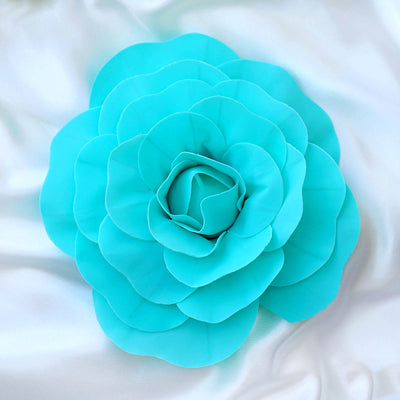 "4 Pack 12"" Large Turquoise Real Touch Artificial Foam Craft Roses"