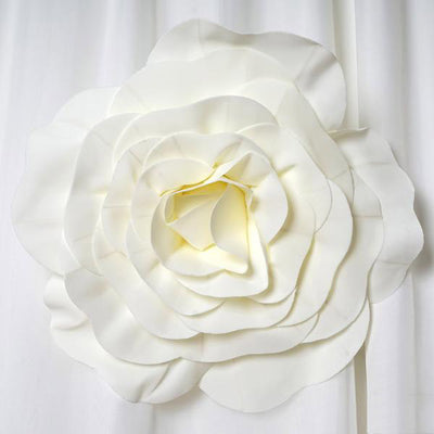 "4 Pack 16"" Large Ivory Real Touch Artificial Foam Backdrop Craft Roses"
