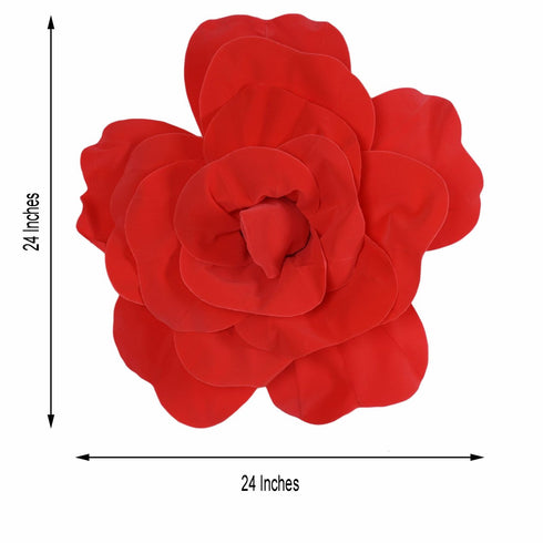 "2 Pack 24"" Large Red Real Touch Artificial Foam Craft Roses"
