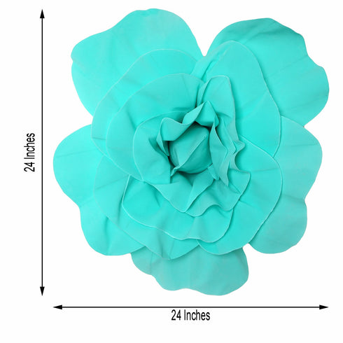 "2 Pack 24"" Large Turquoise Real Touch Artificial Foam Craft Roses"