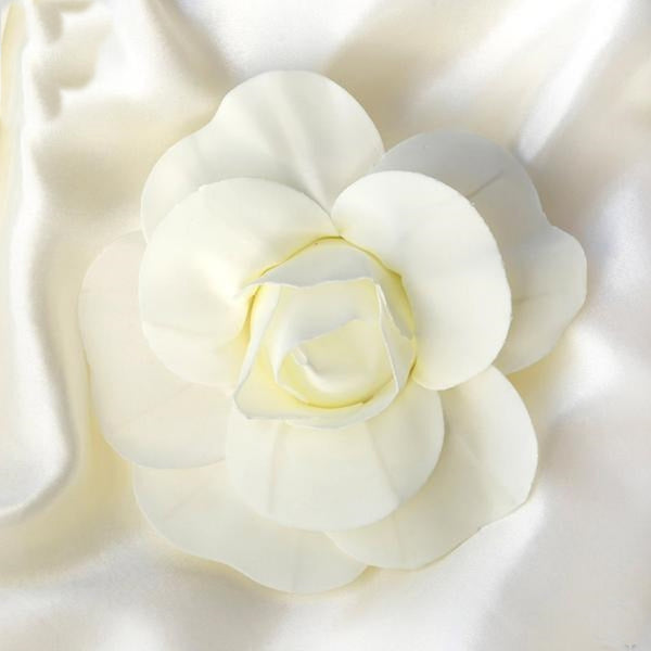 "6 Pack 8"" Large Ivory Real Touch Artificial Foam Craft Roses"