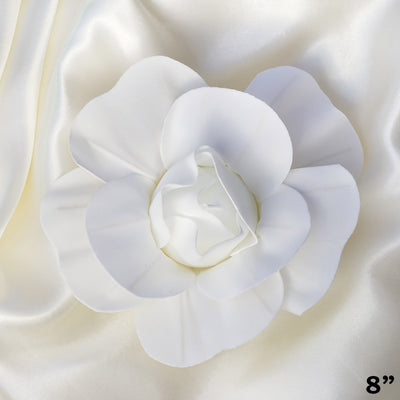 "6 Pack 8"" Large White Real Touch Artificial Foam Backdrop Craft Roses"