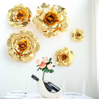 "4 Pack 16"" Large Metallic Gold Real Touch Artificial Foam Craft Roses"