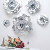 "6 Pack 8"" Large Silver Real Touch Artificial Foam Craft Roses"
