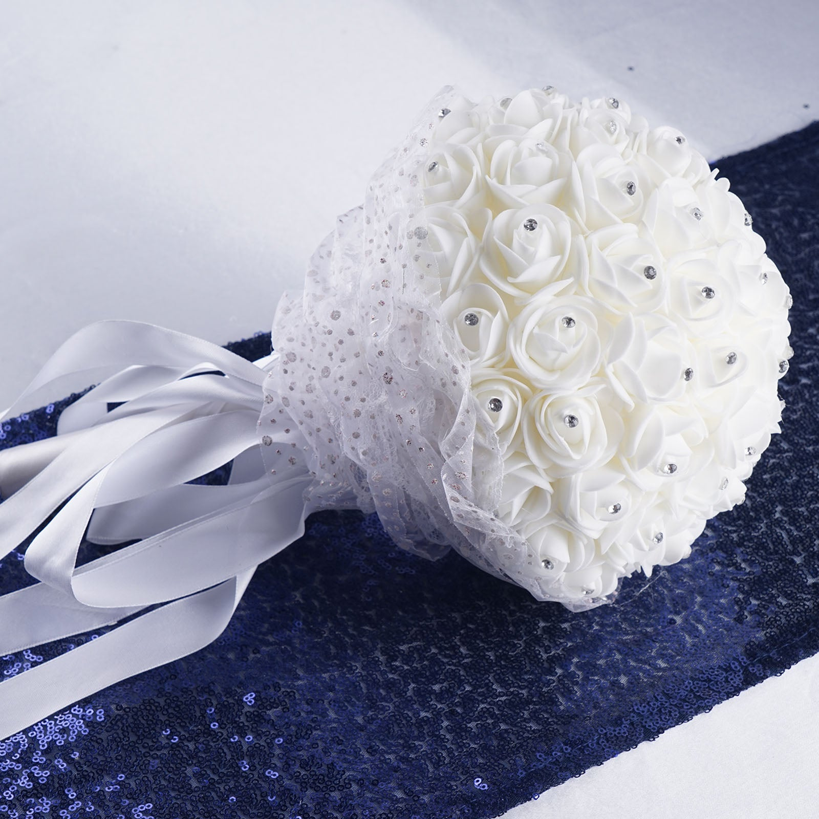 4 pack white artificial rhinestone studded foam rose flower bridal baby shower ideas calla lily wedding favors efavormart izmirmasajfo Images