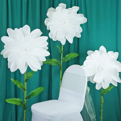 "2 Pack 24"" White Real Feel Foam Dahlia Flowers"