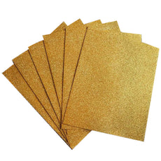 "10 PCS Wholesale Glittered Metallic Foam Craft Art Sheets Fofuchas - Gold - 9.5""x12"""