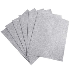 "10 PCS Wholesale Glittered Metallic Foam Craft Art Sheets Fofuchas - Silver - 9.5""x12"""