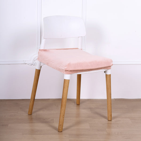 Dusty Rose Dining Chair Seat Cover, Velvet Chair Cushion Cover With Tie