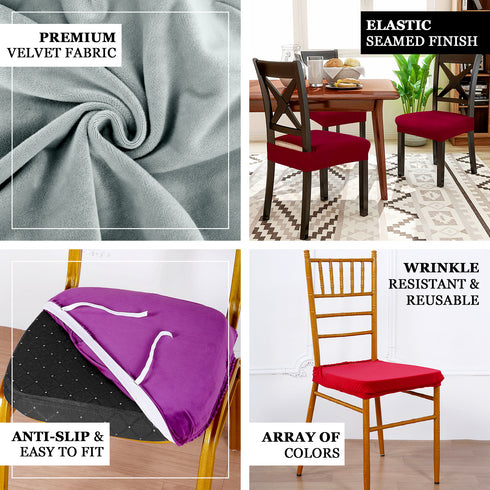 Dusty Blue Velvet Dining Chair Seat Cover Stretchable Chair Cushion Cover With Tie Efavormart