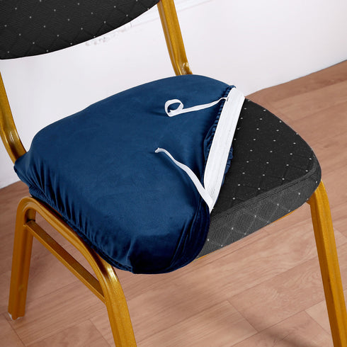 Navy Blue Velvet Dining Chair Seat Cover, Stretchable Chair Cushion Cover with Tie