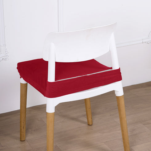 Red Velvet Dining Chair Seat Cover, Stretchable Chair Cushion Cover with Tie