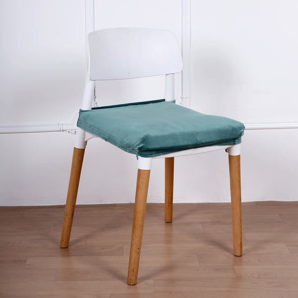 Teal Dining Chair Seat Cover, Velvet Chair Cushion Cover With Tie